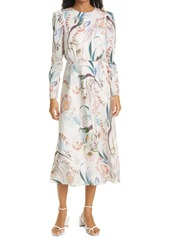 Ted Baker London Decadence Floral Print Long Sleeve Midi Dress