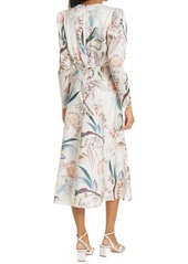 Ted Baker London Decadence Floral Print Long Sleeve Midi Dress