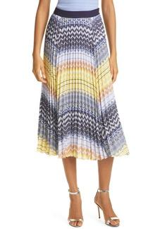 Ted Baker London Denese Chevron Print Pleated Skirt