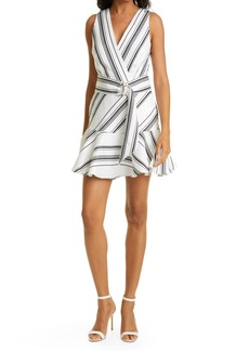 Ted Baker London Directional Stripe Linen & Cotton Sleeveless Dress