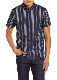 Ted Baker London Doigt Slim Fit Short Sleeve Stripe Button-Up Shirt