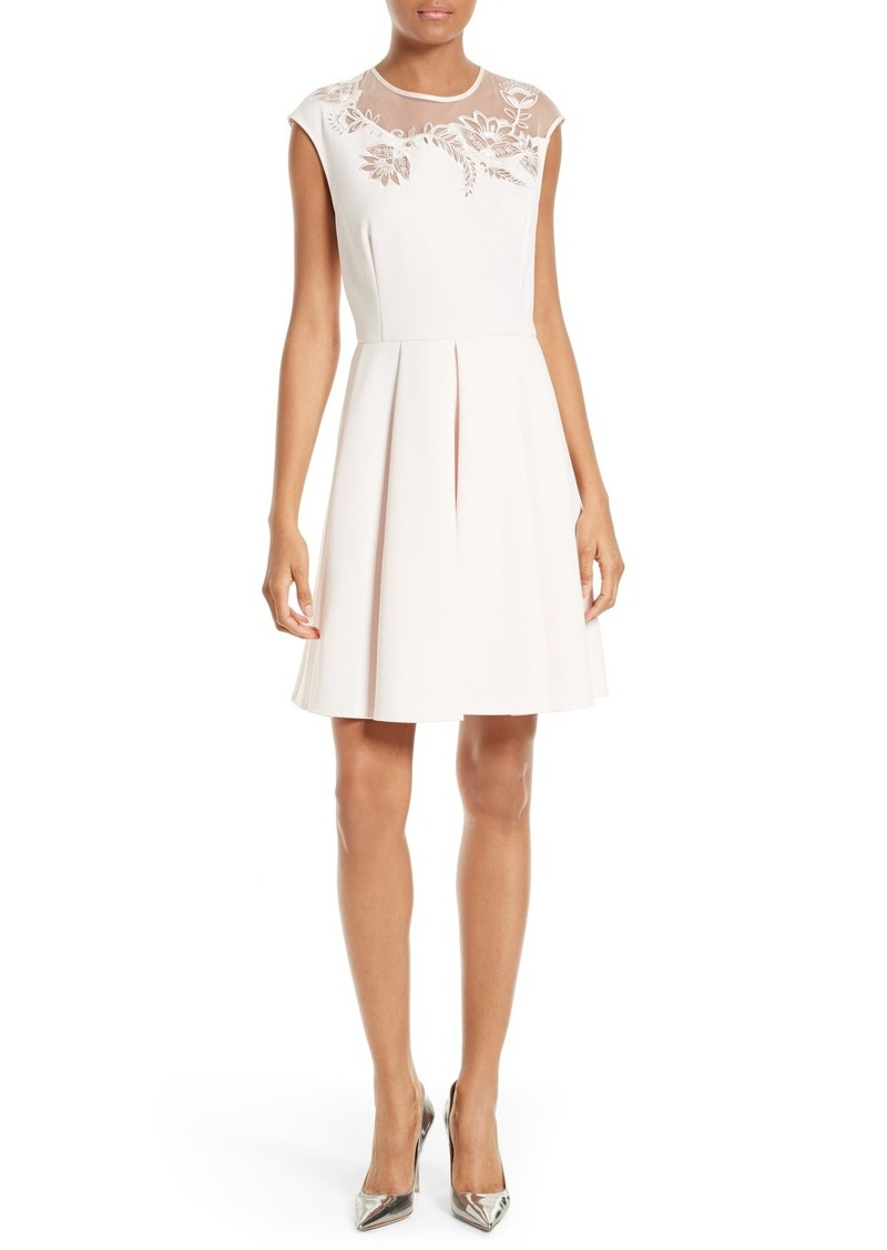 9896d9929e12 Ted Baker Ted Baker London Dollii Embroidered Illusion Fit   Flare ...