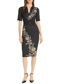 Ted Baker London Dollila Pirouette Body-Con Midi Dress