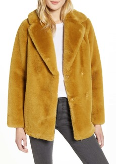 Ted Baker London Double Breasted Faux Fur Coat