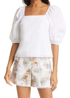 Ted Baker London Ellizan Eyelet Puff Sleeve Top
