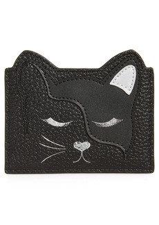 Ted Baker London Ellsi Cat Appliqué Leather Card Holder