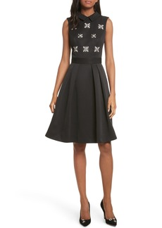 Ted Baker London Embellished Fit & Flare Dress