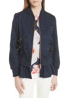 Ted Baker London Embellished Frill Trim Bomber Jacket