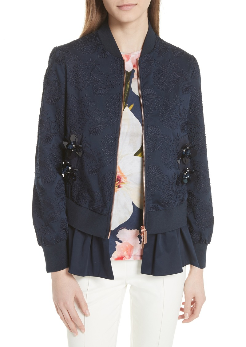 9fe44d25b85987 Ted Baker Ted Baker London Embellished Frill Trim Bomber Jacket ...