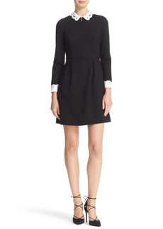 Ted Baker London Embroidered Collar Fit & Flare Dress