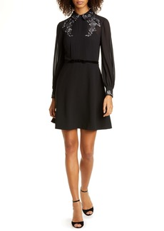 Ted Baker London Embroidered Collar Long Sleeve Shirtdress
