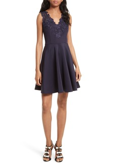 Ted Baker London Embroidered Neoprene Fit & Flare Dress