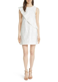 Ted Baker London Embroidered Ruffle Stretch Cotton Shift Dress