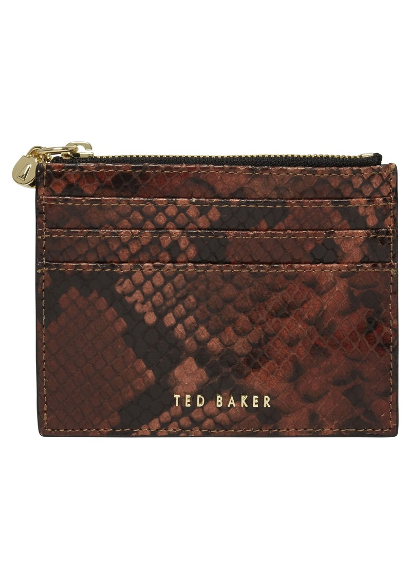 Ted Baker London Emilioo Snakeskin Print Leather Card Wallet