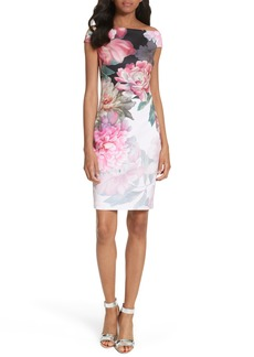 Ted Baker London Emly Painted Posie Off the Shoulder Sheath Dress