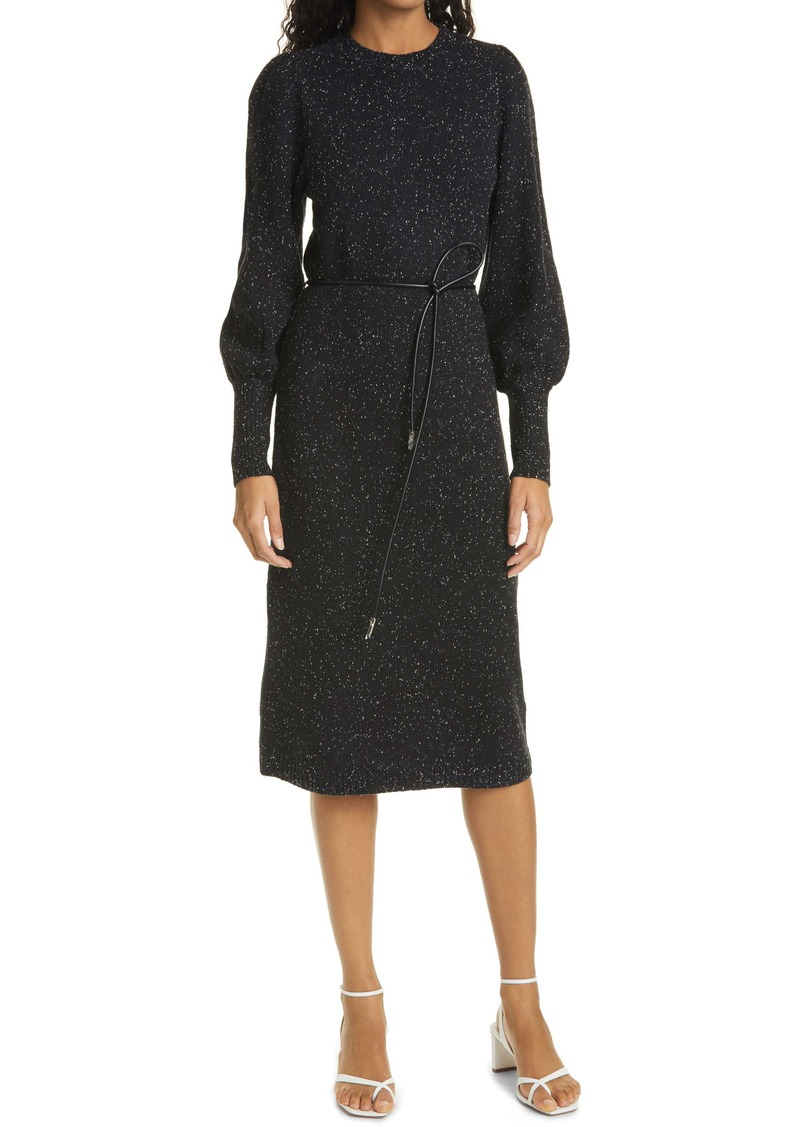 Ted Baker London Faustaa Long Sleeve Wool Blend Midi Dress