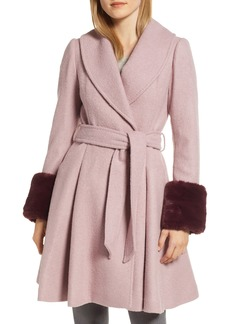 Ted Baker London Faux Fur Cuff Skirted Coat