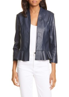 Ted Baker London Febbe Peplum Leather Jacket