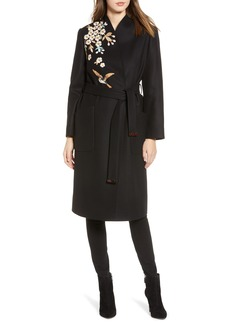 Ted Baker London Fennela Embroidered Wool Coat