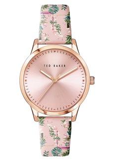 Ted Baker London Fitzriovia Jardin Leather Strap Watch, 34mm