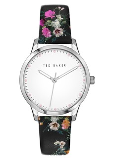 Ted Baker London Fitzrovia Bloom Floral Leather Strap Watch, 34mm