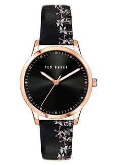 Ted Baker London Fitzrovia Jardin Leather Strap Watch, 34mm