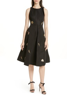 Ted Baker London Flloraa Embellished Fit & Flare Dress