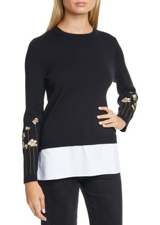 Ted Baker London Floral Embroidery Layered Cotton Sweater