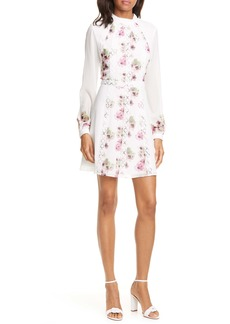 Ted Baker London Sundee Floral Lace Trim Long Sleeve Minidress
