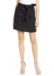 Ted Baker London Florda Tie Waist Button Detail Miniskirt