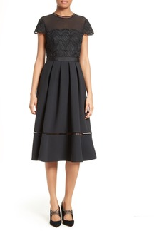 Ted Baker London Frizay Lace Bodice Pleated Midi Dress
