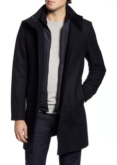 Ted Baker London Funnel Neck Wool Blend Coat with Inset Bib
