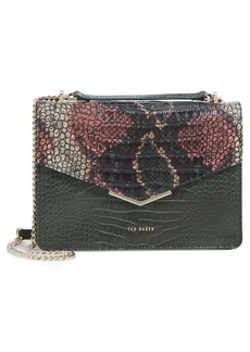 Ted Baker London Gemmeh Slim Bar Croc Embossed Leather Shoulder Bag