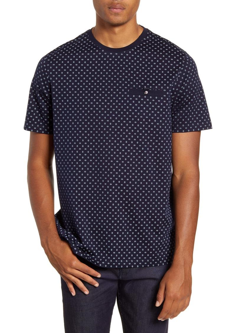 Ted Baker London Geometric Print Cotton Crewneck T-Shirt
