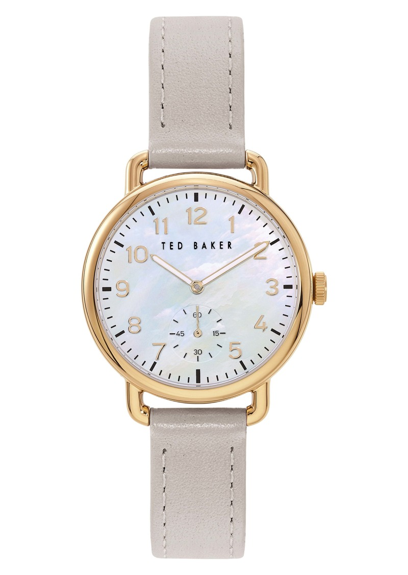 Ted Baker London Hannahh Sub-Eye Leather Strap Watch, 34mm