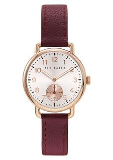 Ted Baker London Hannahh Sub-Eye Leather Strap Watch, 34mm