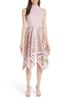 Ted Baker London Harmony Burnout Metallic Stripe Dress