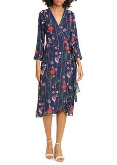 Ted Baker London Hedgerow Floral Stripe Long Sleeve Wrap Dress
