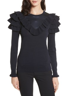 Ted Baker London Hellgar Satin Contrast Ruffle Sweater