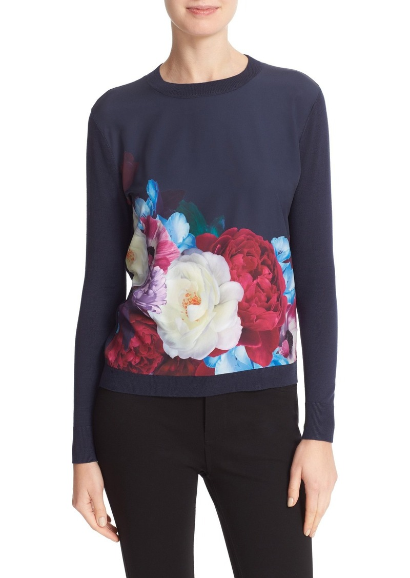 Ted Baker London Islii Blushing Bouquet Woven Front Sweater