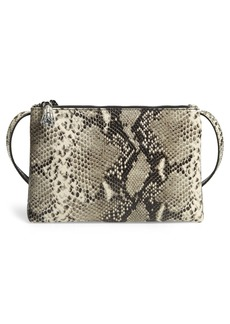 Ted Baker London Jamelia Exotic Double Zip Leather Crossbody Bag