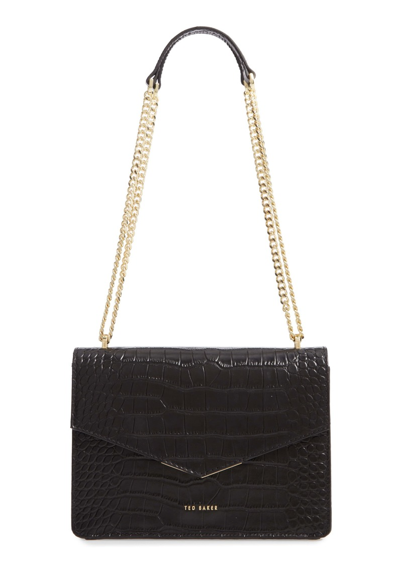 Ted Baker London Jaydaa Croc Embossed Leather Crossbody Bag