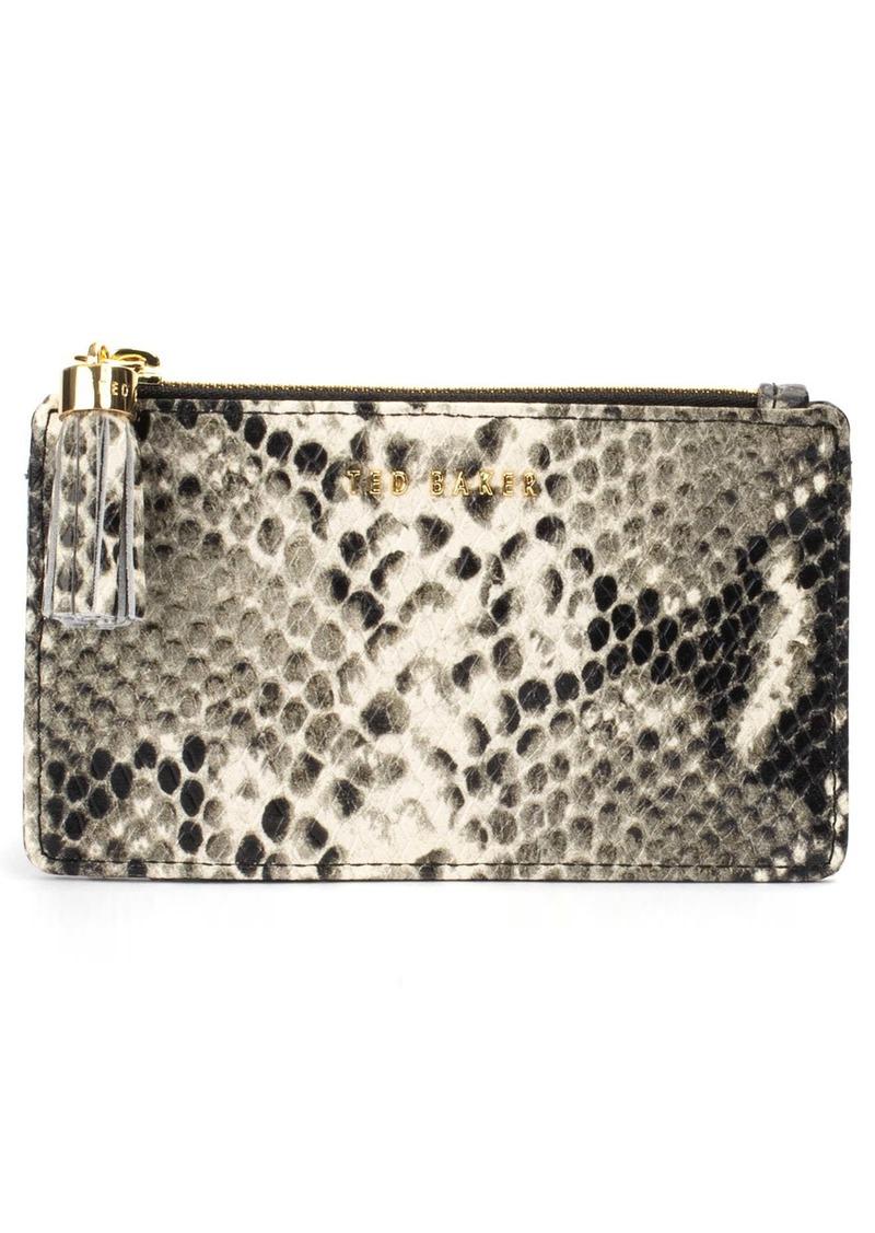 Ted Baker London Kaislee Exotic Tassel Zip Leather Card Holder