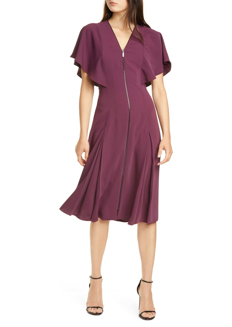 Ted Baker London Kasiane Exposed Zip Drape Sleeve Dress