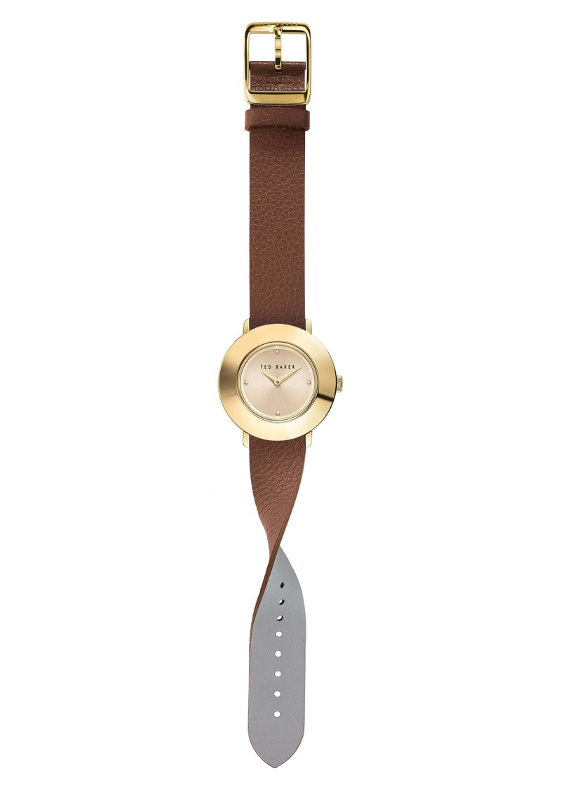 Ted Baker London Katyaa Reversible Leather Strap Watch, 34mm