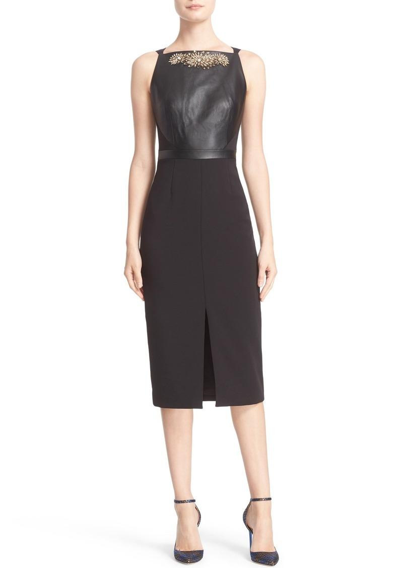 Ted Baker London 'Kimla' Embellished Leather Panel Sheath Dress