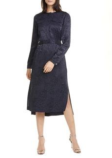 Ted Baker London Kinzley Long Sleeve Animal Jacquard Dress