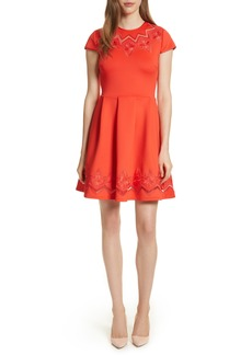 Ted Baker London Lace & Mesh Skater Dress
