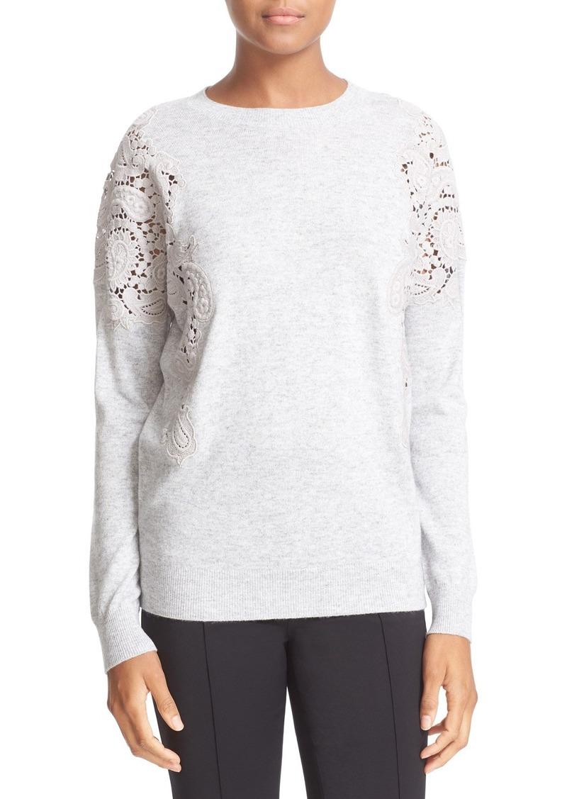 Ted Baker London Lace Shoulder Crewneck Sweater