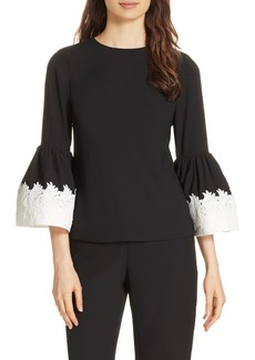 Ted Baker London Lace Trim Fluted Bell Sleeve Blouse